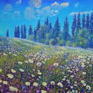 Maleri av eng og himmel