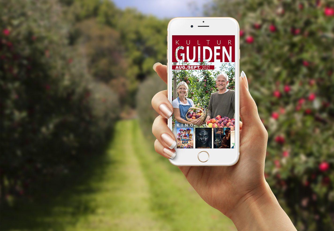 Mobiltelefon med digital Kulturguiden